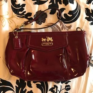 Cranberry Patent Leather Coach Wristlet